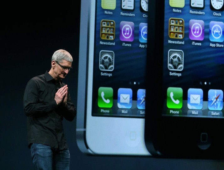 Apple CEO Tim Cook speaks during an Apple special event at the Yerba Buena Center for the Arts on September 12, 2012 in San Francisco, California. Apple announced the iPhone 5, the latest version of the popular smart phone. (Justin Sullivan/Getty Images)
