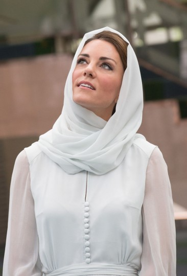 September 14, 2012: Catherine, Duchess of Cambridge visits Assyakirin Mosque on day 4 of Prince William, Duke of Cambridge and Catherine, Duchess of Cambridge's Diamond Jubilee Tour of the Far East in Kuala Lumpur, Malaysia. (Tim Rooke/Pool/Getty Images)