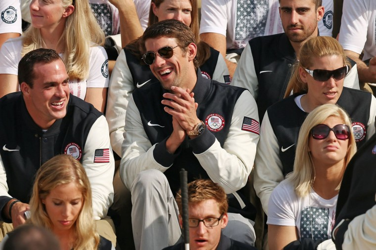 Swimmer Michael Phelps and fellow members of the U.S. Olympic and Paralympic teams gather on the south lawn of the White House. (Chip Somodevilla/Getty Images)