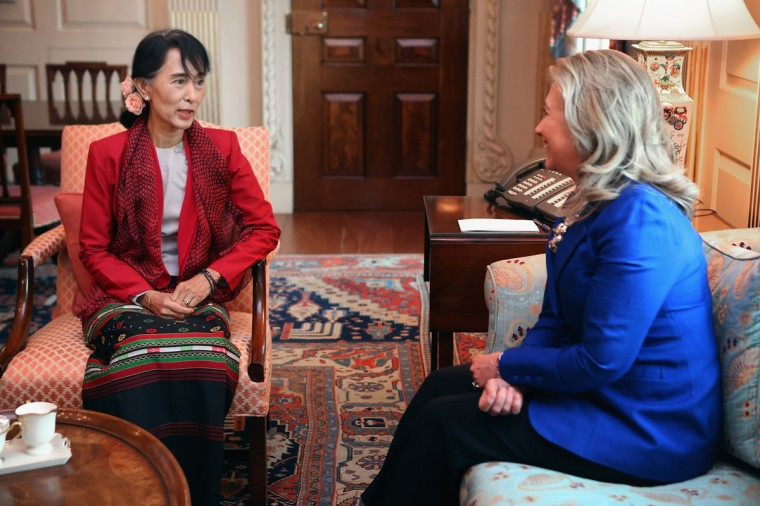 U.S. Secretary of State Hillary Clinton (R) meets with Nobel Peace Prize winner and Burmese pro-democracy opposition leader Daw Aung San Suu Kyi in Clinton's office at the State Department in Washington, DC. Having spend most of the last two decades as a political prisoner under house arrest in her home nation of Myanmar, formerly known as Burma, Suu Kyi was elected to Parliament in 2012 and her political party, the National League for Democracy, won a majority of seats. (Chip Somodevilla/Getty Images)