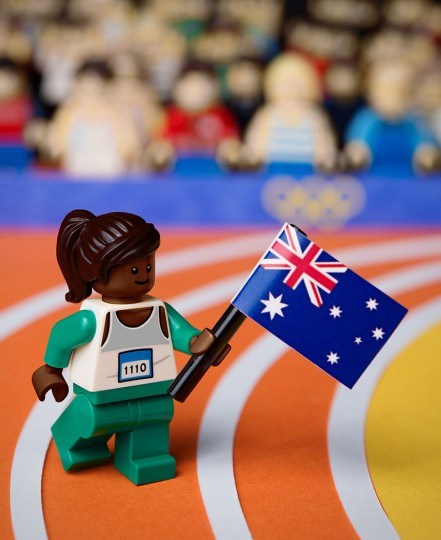 A LEGO recreation of Cathy Freeman winning gold in the 400m at the 2000 Sydney Olympic Games, on August 26, 2012. LEGO Australia unveiled Sunday LEGO Minifigure recreations of the top ten Australian moments from the past 50 years. (Mike Stimpson/LEGO Australia via Getty Images)