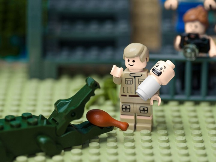 A LEGO recreation of Steve Irwin feeding a crocodile with one hand, while cradling his baby son Bob in the other in 2004, on August 9, 2012. LEGO Australia unveiled Sunday LEGO Minifigure recreations of the top ten Australian moments from the past 50 years. (Mike Stimpson/LEGO Australia via Getty Images)