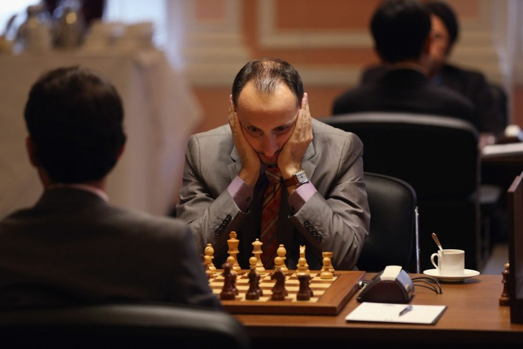 Chess Grandmaster Veselin Topalov plays in round 6 of the World Chess London Grand Prix at Simpson's-in-the-Strand on September 27, 2012 in London, England. (Oli Scarff/Getty Images)