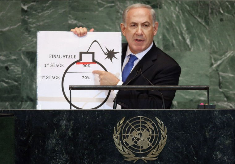 Benjamin Netanyahu, Prime Minister of Israel, points to a red line he drew on a graphic of a bomb, while discussing Iran during an address to the United Nations General Assembly on September 27, 2012 in New York City. The 67th annual event gathers more than 100 heads of state and government for high level meetings on nuclear safety, regional conflicts, health and nutrition and environment issues. (Mario Tama/Getty Images)
