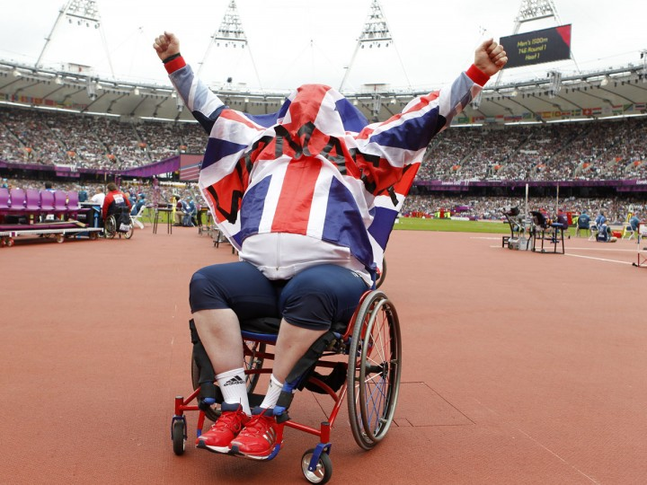 Britain's Robin Womack celebrates winning the bronze medal in the men's shot put - F54/55/56 during the London 2012 Paralympic Games at the Olympic Stadium in London on September 1, 2012. (Ian Kington/AFP/Getty Images)