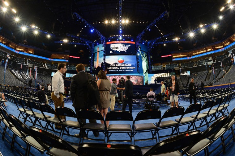 Delegate seats on the floor at the Warner Cable Arena are empty hours before the start of the Democratic National Convention (DNC), September 4, 2012 in Charlotte, North Carolina. (Robyn Beck/AFP/Getty Images)