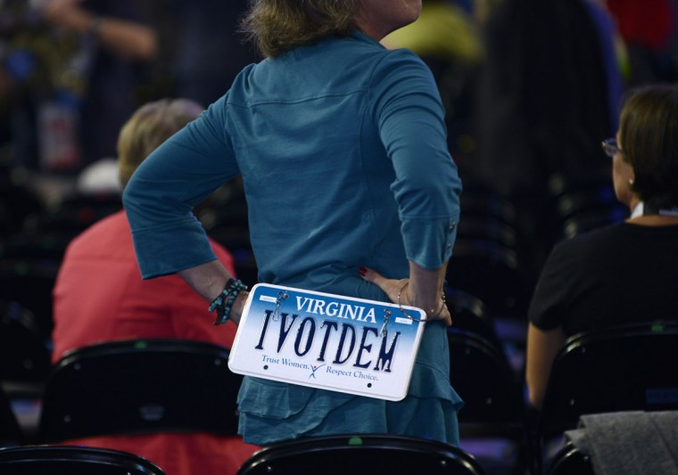 Victoria Cochran, a delegate from Virginia, looks around at the Time Warner Cable Arena on September 4, 2012 before the start of the first day of the Democratic National Convention (DNC). (Brendan Smialowski/AFP/Getty Images)