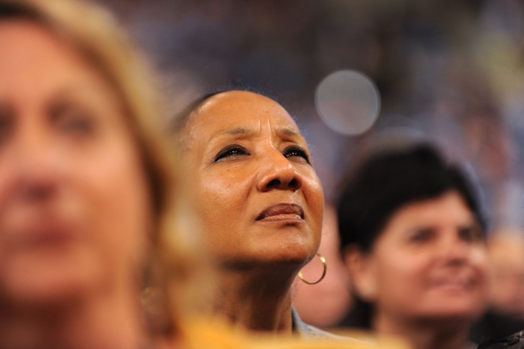 Supporters listen to a speech at the Time Warner Cable Arena in Charlotte, North Carolina, on September 4, 2012 on the first day of the Democratic National Convention (DNC). (Robyn Beck/AFP/Getty Images)