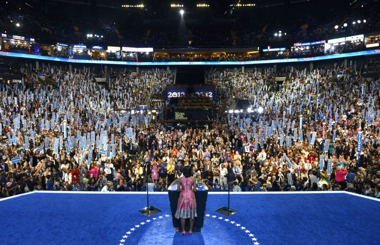 First Lady Michelle Obama delivers a speech at the Time Warner Cable Arena in Charlotte, North Carolina, on September 4, 2012 on the first day of the Democratic National Convention (DNC). The DNC is expected to nominate US President Barack Obama to run for a second term as president. (Brendan Smialowski/AFP/Getty Images)