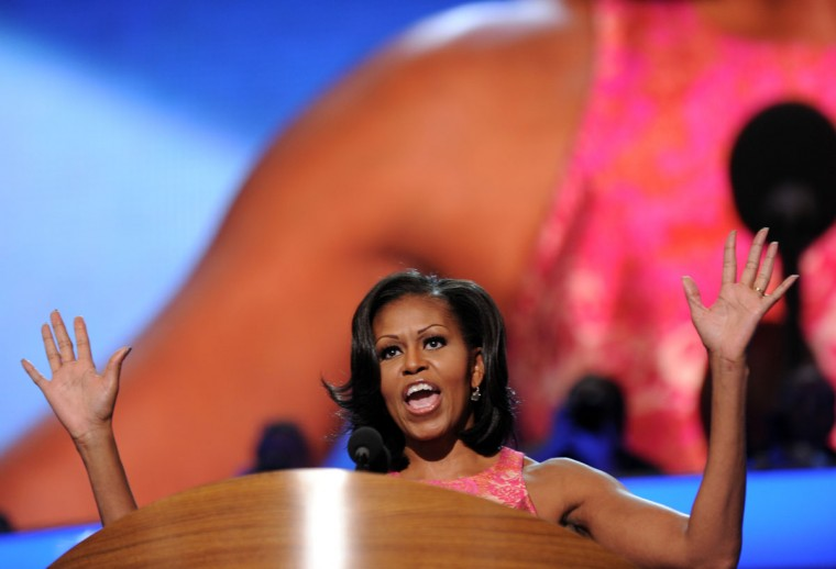 First Lady Michelle Obama delivers a speech at the Time Warner Cable Arena in Charlotte, North Carolina, on September 4, 2012 on the first day of the Democratic National Convention (DNC). The DNC is expected to nominate U.S. President Barack Obama to run for a second term as president. (Robyn Beck/AFP/Getty Images)
