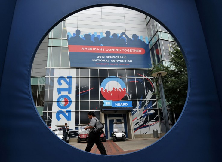 The Time Warner Cable Arena as seen through a photo booth window in Charlotte, North Carolina in advance of the second day of the 2012 Democratic National Convention. (Stan Honda/AFP/Getty Images)