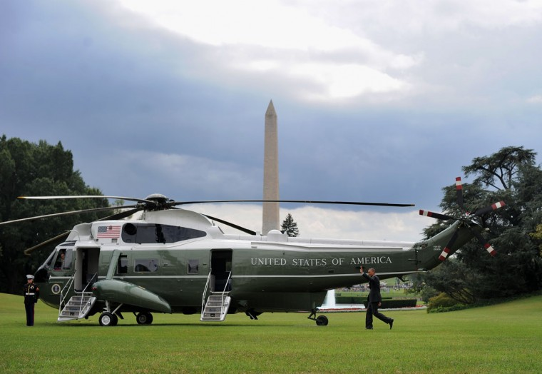 US President Barack Obama walks on the South Lawn of the White House in Washington, DC, to board Marine One . Obama left Washington, en route to Charlotte, North Carolina, to attend the Democratic National Convention. (Jewel Samad/AFP/Getty Images)