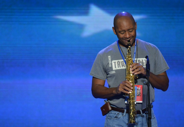 Saxophonist Branford Marsalis attends a sound check at the Time Warner Cable Arena in Charlotte, North Carolina ahead of events on the second day of the Democratic National Convention (DNC). (Stan Honda/AFP/Getty Images)
