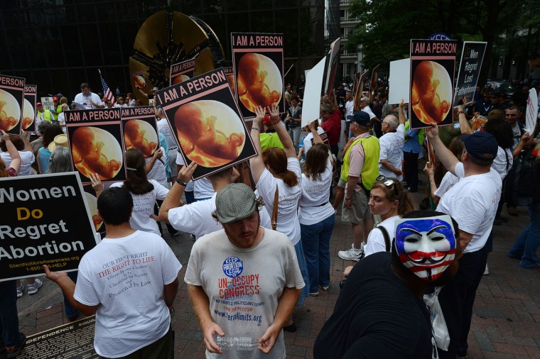 A man wearing a mask symbolizing the Occupy movement walks past a Pro-Life rally on day two of the Democratic National Convention (DNC), in Charlotte, North Carolina. (Robyn Beck/AFP/Getty Images)