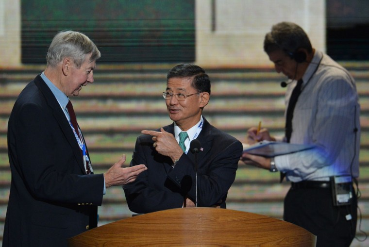 General Eric Shinseki attends a sound check at the Time Warner Cable Arena in Charlotte, North Carolina ahead of events on the second day of the Democratic National Convention (DNC). (Stan Honda/AFP/Getty Images)
