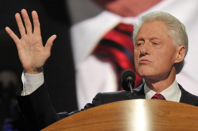 Former U.S. president Bill Clinton addresses the audience at the Time Warner Cable Arena in Charlotte, North Carolina, on September 5, 2012 on the second day of the Democratic National Convention (DNC). (Mladen Antonov/AFP/Getty Images)