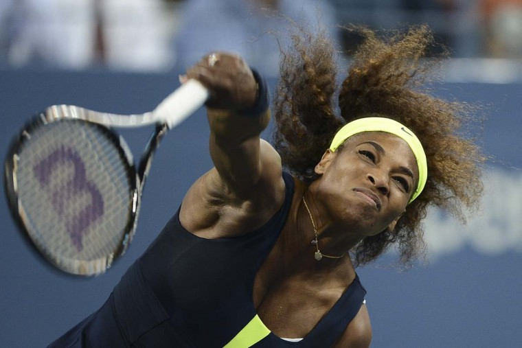 US Serena Williams plays a point against Serbia's Ana Ivanovic during their 2012 US Open women's singles match at the USTA Billie Jean King National Tennis Center in New York. (Emmanuel Dunand/Getty Images)