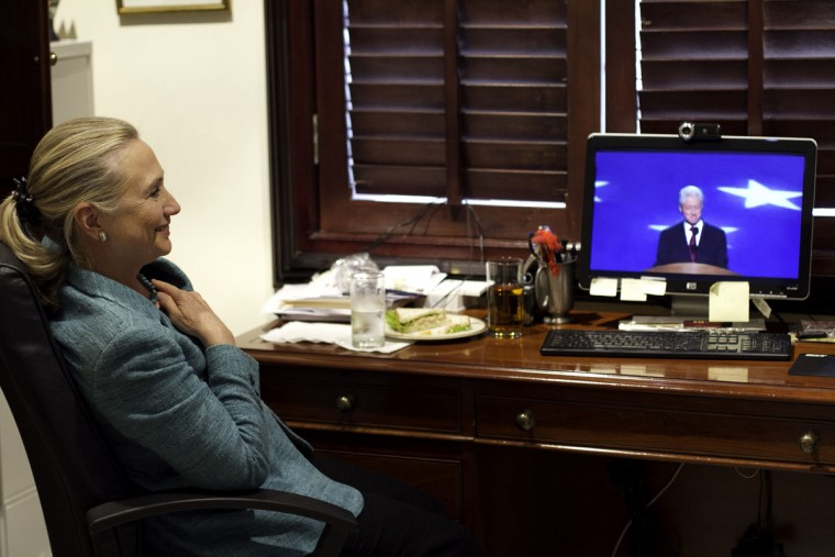 This photo courtesy of the US Department of State shows US Secretary Hillary Clinton watching her husband former U.S. President Bill Clinton's nomination of President Obama during the Democratic convention in Charlotte, North Carolina, at the residence of the US ambassador to Timor Leste, on September 5, 2012. (Nick Merrill/AFP/Getty Images)