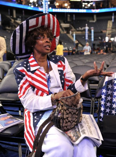 Hiawatha Foster, a delegate from Charlotte, sits in the Time Warner Cable Arena September 6, 2012 in Charlotte, North Carolina on the final day of the 2012 Democratic National Convention. (Stan Honda/AFP/Getty Images)