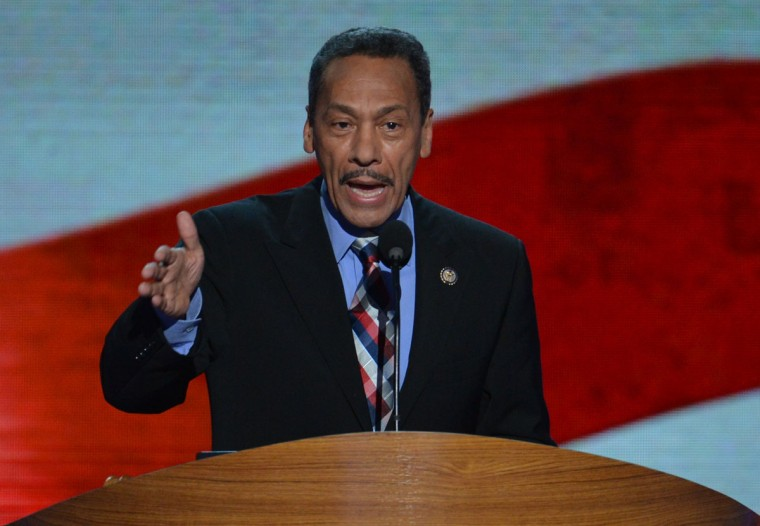 Member of the US House of Representatives, North Carolina, Mel L. Watt speaks at the Time Warner Cable Arena in Charlotte, North Carolina, on September 6, 2012 on the final day of the Democratic National Convention (DNC). US President Barack Obama is expected to accept the nomination from the DNC to run for a second term as president.
