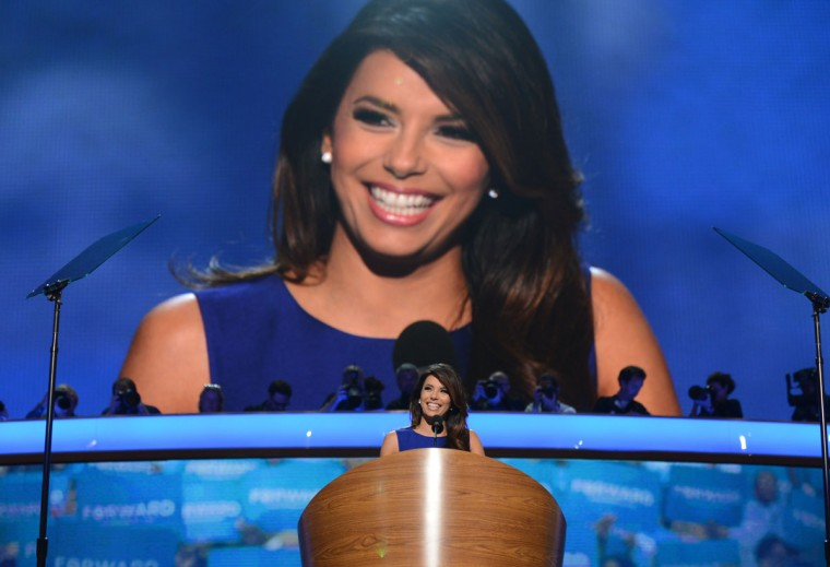 Obama Campaign Co-Chair Eva Longoria speaks to the audience at the Time Warner Cable Arena in Charlotte, North Carolina, on September 6, 2012 on the final day of the Democratic National Convention (DNC). US President Barack Obama is expected to accept the nomination from the DNC to run for a second term as president. (Robyn Beck/AFP photo)