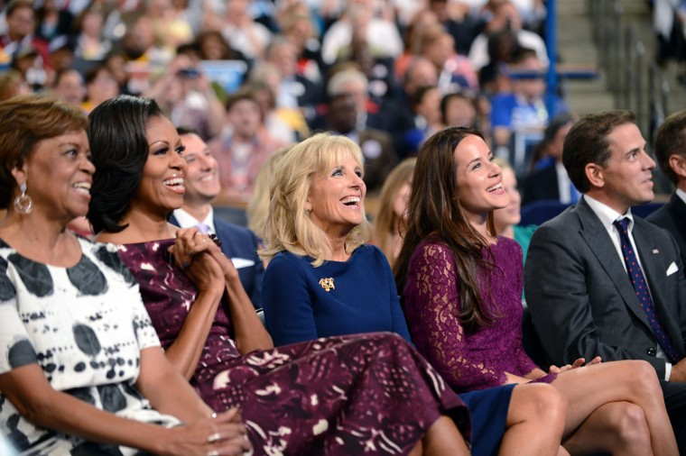 Second Lady of the United States Dr. Jill Biden (Center) watches her husband US Vice President Joe Biden give his acceptance speech to run for a second term at the Time Warner Cable Arena in Charlotte, North Carolina, on September 6, 2012 on the final day of the Democratic National Convention (DNC). Dr. Biden is seated next to First Lady Michelle Obama (Center, left) and her mother Marian Robinson. US President Barack Obama is expected to accept the nomination from the DNC to run for a second term as president later tonight. (Robyn Beck/AFP photo)