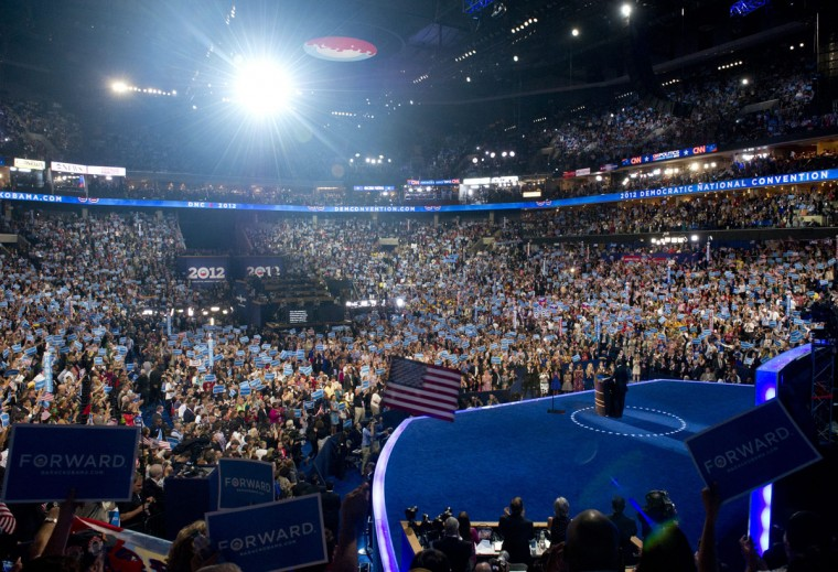 US President Barack Obama speaks during the Democratic National Convention (DNC) at the Time Warner Cable Arena in Charlotte, North Carolina, on September 6, 2012. (Saul Loeb/AFP photo)