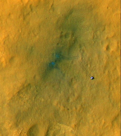 September 6, 2012: Tracks from the first drives of NASA's Curiosity rover are visible in this image captured by the High-Resolution Imaging Science Experiment (HiRISE) camera on NASA's Mars Reconnaissance Orbiter. (NASA/JPL-Caltech/Univ. of Arizona/HO/AFP/Getty Images)