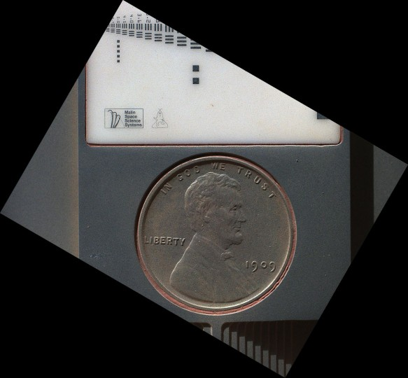 "September 9, 2012: The penny in this image is part of a camera calibration target on NASA's Mars rover Curiosity taken by the Mars Hand Lens Imager (MAHLI) camera on Mars. The penny is a nod to geologists' tradition of placing a coin or other object of known scale as a size reference in close-up photographs of rocks, and it gives the public a familiar object for perceiving size easily when it will be viewed by MAHLI on Mars. The specific coin, provided by MAHLI's principal investigator, Ken Edgett, is a 1909 ""VDB"" penny. (NASA/JPL-Caltech/Malin Space Science Systems/HO/AFP/Getty Images)"