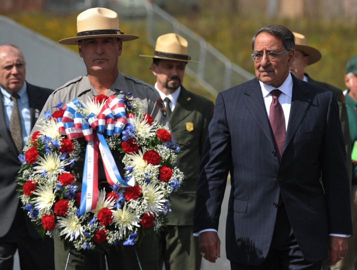 US Defense Secretary Leon Panetta lays a wreath at the Flight 93 National Memorial during ceremonies commemorating the 11th anniversary of the 9/11 attacks in Shanksville, Pennsylvania, on September 10, 2012. (Mandel Ngan/AFP/Getty Images)