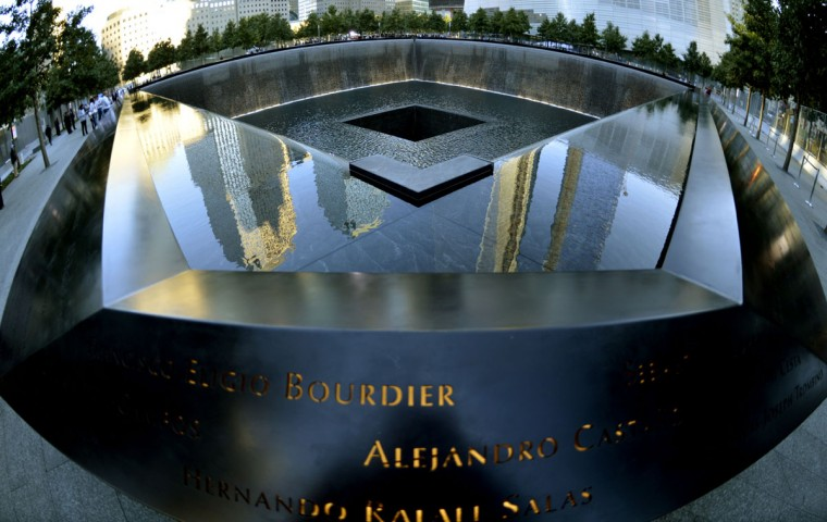 The South Tower pool during observances held on the eleventh anniversary of the attacks on the World Trade Center, at the site in New York, September 11, 2012. (Timothy A. Clary/AFP/Getty Images)