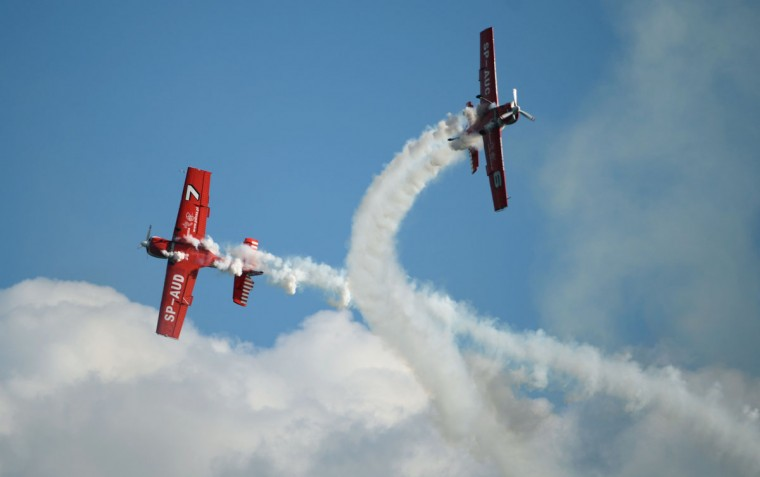 Two planes of the polish formation Grupa Zelazny perform at the International Air Show ILA in Schoenefeld, near Berlin. The 2012 international air fair runs from September 11 until 16. (Johannes Eisele/GettyImages)