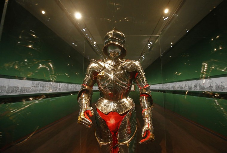 "A suit of armour owned by Emperor Maximilian I and dating from approximately 1485, is displayed as part of the exhibition ""Emperor Maximilian 1 and the art of the Albrecht Durer period"" at the Albertina museum in Vienna on September 13, 2012. (Alexander Klein/AFP/Getty Images)"