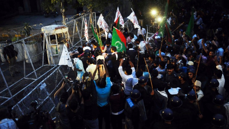 Pakistani Shiite Muslims shout anti-US slogans during a protest against an anti-Islam movie in Lahore on September 17, 2012. (Arif Ali/AFP/Getty Images)