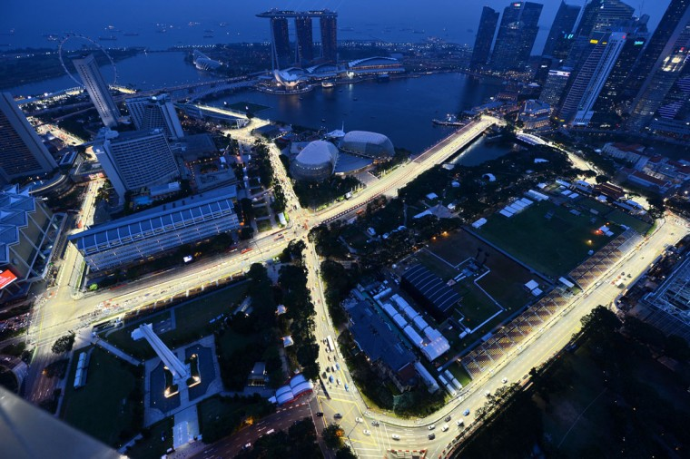 An overview shows the illuminated track for the upcoming Formula One Singapore Grand Prix night race in Singapore on September 17, 2012. Formula One's Singapore Grand Prix will be held on September 21 to 23. (Roslan Rahman/AFP/Getty Images)