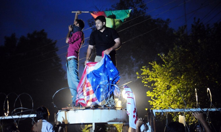 Pakistani Shiite Muslims shout anti-U.S. slogans during a protest against an anti-Islam movie in Lahore on September 17, 2012. (Arif Ali/AFP/Getty Images)