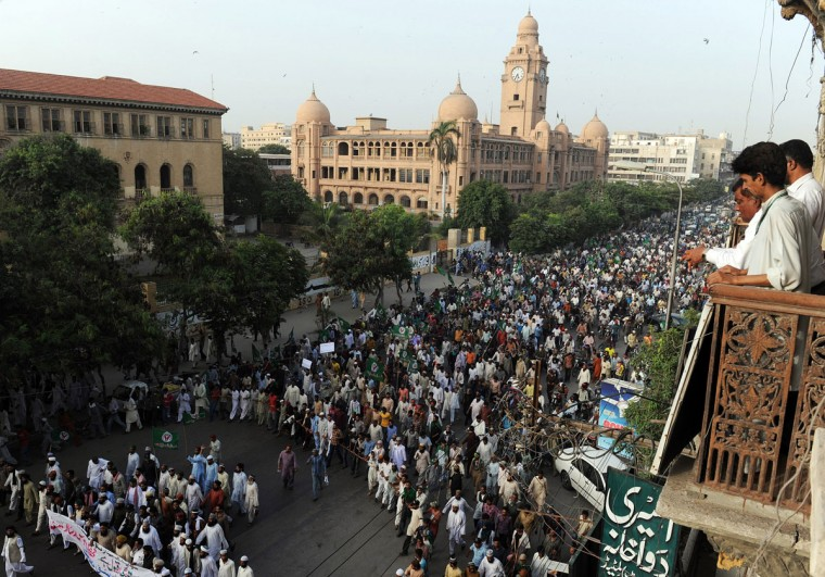 Pakistani Sunni Muslims march during a protest against an anti-Islam movie in Peshawar on September 18, 2012. (Rizwan Tabassum/AFP/Getty Images)
