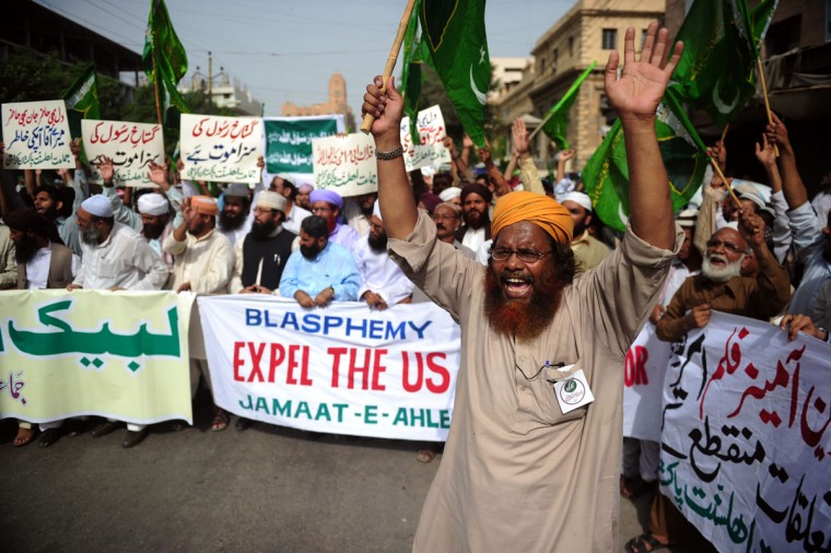 Pakistani demonstrators shout anti-U.S. slogans during a protest against an anti-Islam movie in Karachi on September 19, 2012. The Pakistan government has declared Friday a national holiday in honor of the Muslim prophet Mohammed and called for peaceful protests against a U.S.-made film deemed insulting to Islam. (Asif Hassan/AFP/Getty Images)