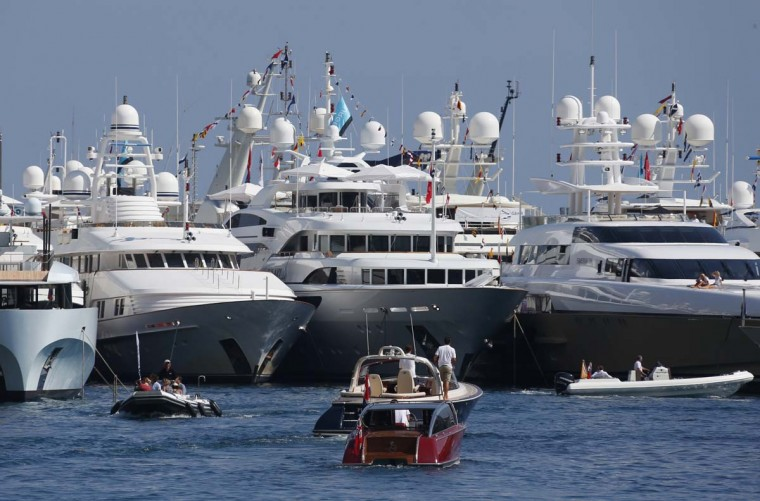 A view in Monaco with yachts moored at Port Hercules during the 22th edition of the International Monaco Yacht Show. The Monaco Yacht Show is considered the most prestigious pleasure boat show in the world with the exhibition of 500 major companies in the luxury yachting and a hundred super and megayachts afloat. The event runs until September 22. (Valery Hache/Getty Images)