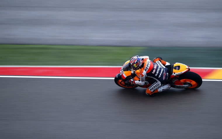 Repsol Honda Team's Dani Pedrosa rides during a Moto Grand Prix practice session at the Aragon Grand Prix in Alcaniz. (Jose Jordan/AFP/Getty Images)