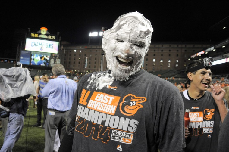 Sept. 2014: Baltimore Orioles center fielder Adam Jones smiles beneath a coating of a shaving cream pie after defeating the Toronto Blue Jays Tuesday, Sep 16, 2014, as Baltimore wins its first AL East championship pennant at home since 1969. (Karl Merton Ferron / Baltimore Sun Staff)