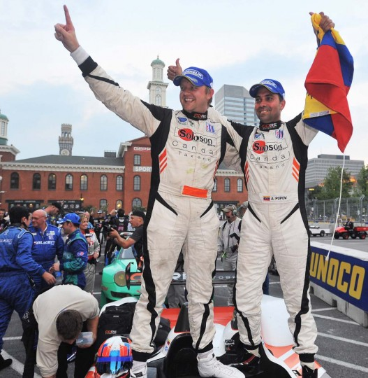 Shown are the winners of the ALMS protoype challenge class, Ryan Dalziel and Alex Popow in the pit lane. They also finished third overall. (Gene Sweeney, Jr./ Baltimore Sun)