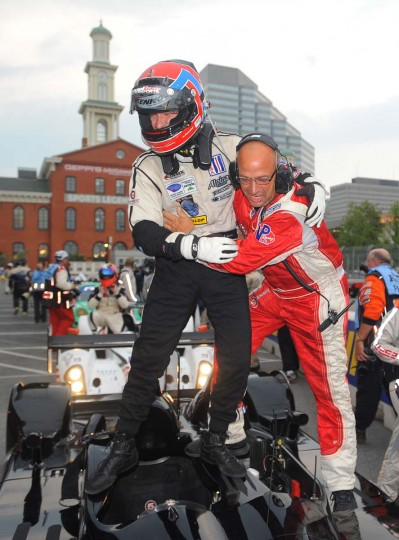 Shown is Christopher Bouchut, one of the winning drivers from the Level 5 Motorsports team, in the ALMS LMP2 class, getting a hug from his mechanic Albert Tormes. (Gene Sweeney, Jr./Baltimore Sun)