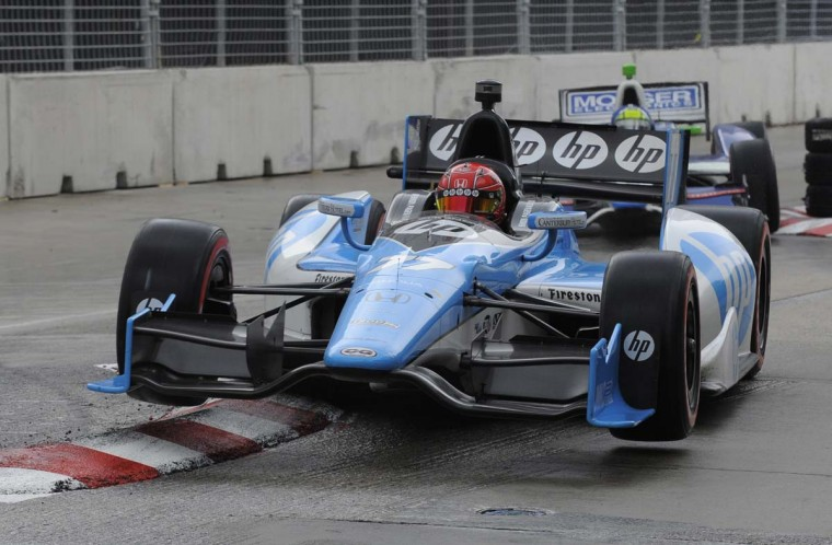 Car #77 driven by Simon Pagenaud finished third in the race, drives through the chicane. (Lloyd Fox/Baltimore Sun)