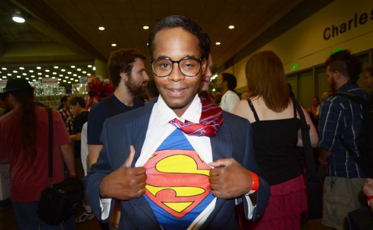 Clark Kent is caught mid-change. (Credit: J.M. Giordano)