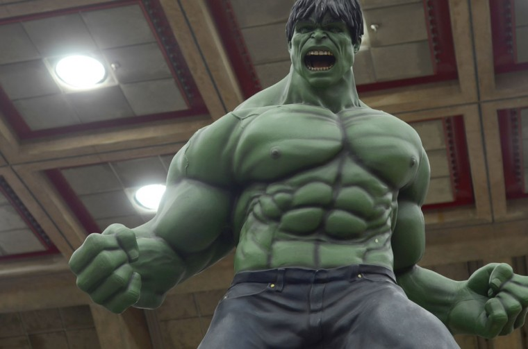 """An """"incredible"""" Hulk sculpture roars over the con floor. (Credit: J.M. Giordano)"""