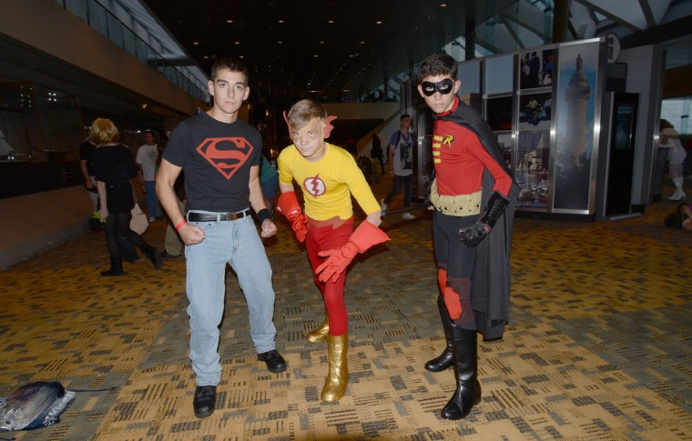 Young Justice members (from left) Superboy, Kid Flash and Robin are ready to help out their elder counterparts. (Credit: J.M. Giordano)