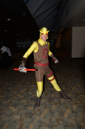 A rare appearance from Daredevil (Brent Staubs, 25, of Pasadena) in his early yellow costume. (Credit: J.M. Giordano)