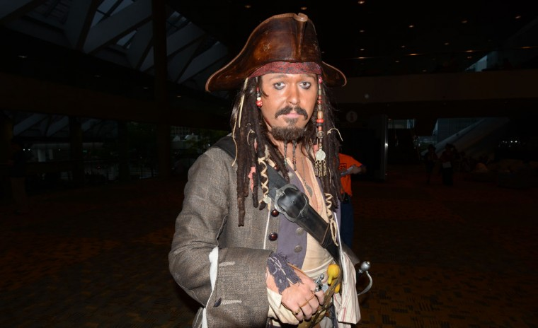 Though not a comic character, Captain Jack Sparrow (Bryan L Moore) is always welcomed to lighten up the festivities. (Credit: J.M. Giordano)