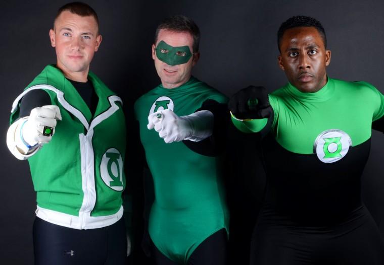 Green Lantern Corps (from left): Guy Gardner, aka Michael Mason, 32, of Upper Marlboro; Hal Jordan, aka Rob Gutro, 49, of Bowie; John Stewart, aka Matt Christensen, 24, of Chesterton, Indiana. (Credit: J.M. Giordano)